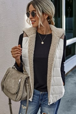 Stitching Plush Two-sided Wear Vest Coat Apricot