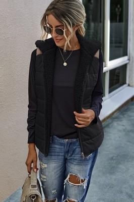 Stitching Plush Two-sided Wear Vest Coat Black