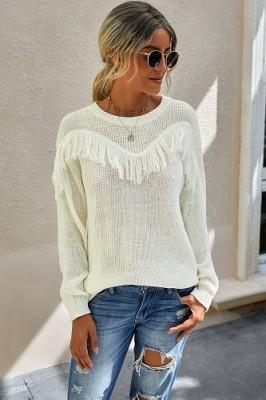 Apricot Stitching Tassel Crew Neck Sweater