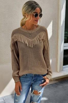 Brown Stitching Tassel Crew Neck Sweater