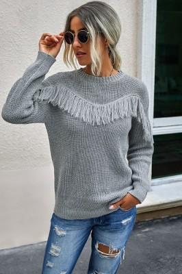 Grey Stitching Tassel Crew Neck Sweater