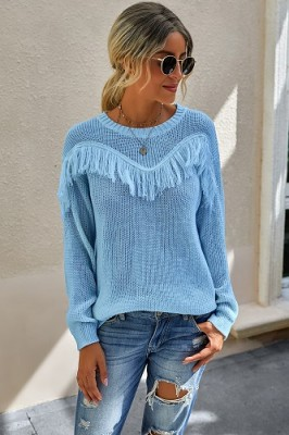Blue Stitching Tassel Crew Neck Sweater