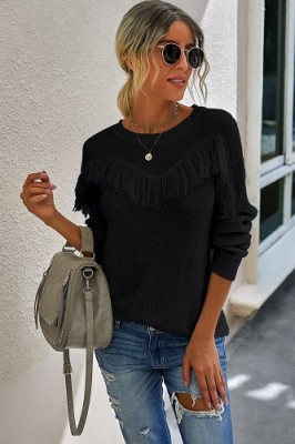 Black Stitching Tassel Crew Neck Sweater