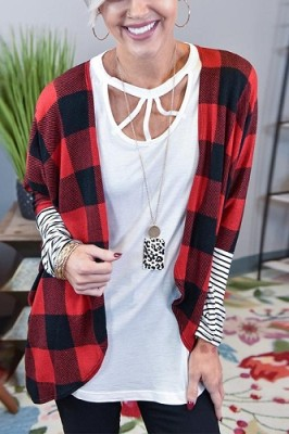 Contrasting Check Striped Sleeve Cardigan Coat Red