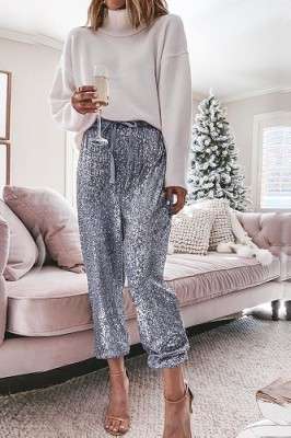Sliver Ruffled Sequined High Waist Drawstring Pants
