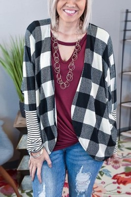 Contrasting Check Striped Sleeve Cardigan Coat Black