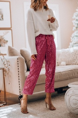 Rose Red Ruffled Sequined High Waist Drawstring Pants