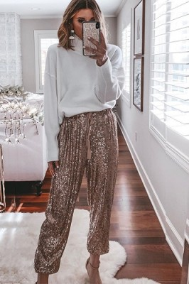 Rose Gold Ruffled Sequined High Waist Drawstring Pants