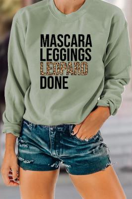Leopard Print Round Neck Women Sweatshirt