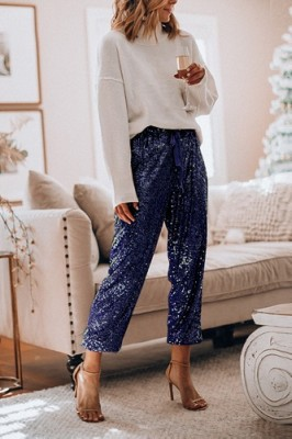 Blue Ruffled Sequined High Waist Drawstring Pants