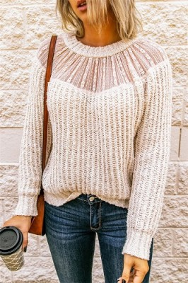 Apricot Crew Neck Lace Stitching Sleeve Sweater