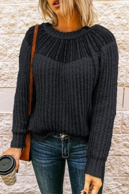 Black Crew Neck Lace Stitching Sleeve Sweater