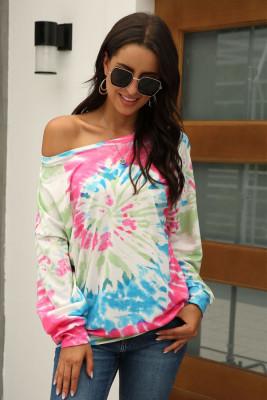 Multicolor Tie Dye Print Long Sleeve Top