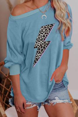 Blue One Shoulder Balloon Sleeve Lightning Leopard Print Long Sleeve Top