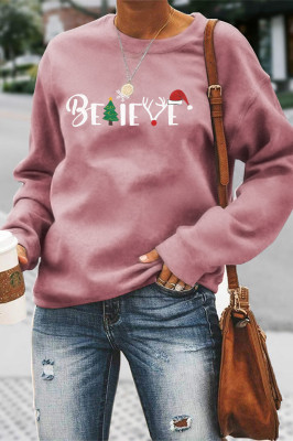 Christmas Print Solid Color Women Sweatshirt