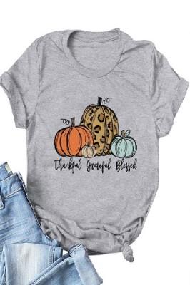 Halloween Pumpkin Printed Crew Neck Short Sleeve T-shirt Light Grey