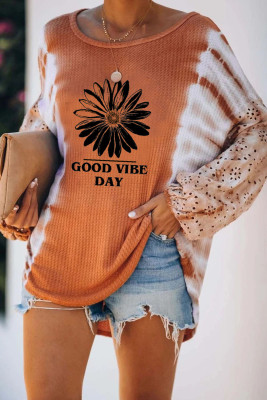 Classic Letter Print Cut-out Tie Dye Lantern Long Sleeve Top