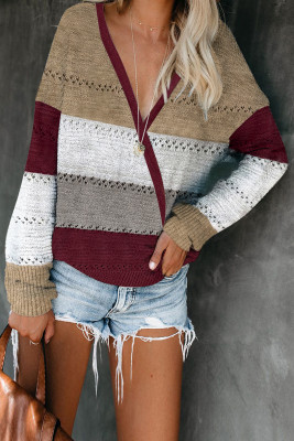 Striped V Neck Women Sweater