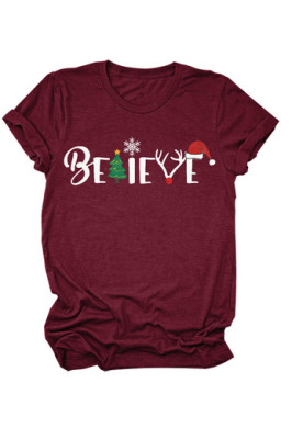 Christmas Print Solid Color Women T-shirt