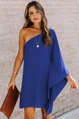 Blue Side To Side One Shoulder Statement Mini Dress