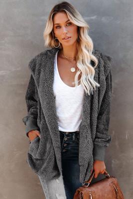 Soft Fleece Hooded Open Front Coat