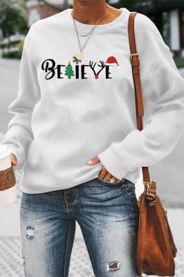 Christmas Print Solid Color Women Sweatshirt