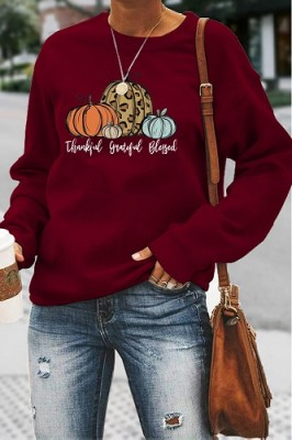 Thankful Grateful Blessed Halloween Letters Long Sleeve Top Burgundy