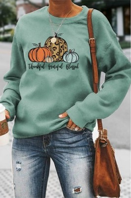 Thankful Grateful Blessed Halloween Letters Long Sleeve Top Light Green