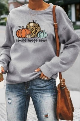 Thankful Grateful Blessed Halloween Letters Long Sleeve Top Grey