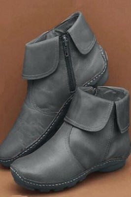 Round Toe PU Leather Boots Side Zipper Mid Heel Martin Boots Grey