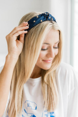 Star Print Dark Blue Headband