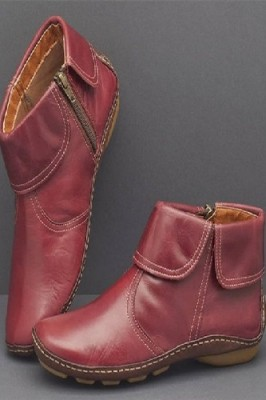 Round Toe PU Leather Boots Side Zipper Mid Heel Martin Boots Red