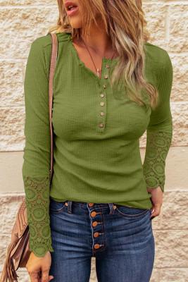 Green Crochet Lace Hem Sleeve Button Top