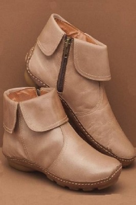 Round Toe PU Leather Boots Side Zipper Mid Heel Martin Boots Khaki