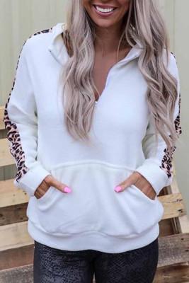 Leopard Detail Zip Collar Sweatshirt