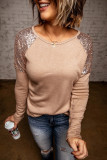 Apricot Sequin Shoulder Long Sleeve Top