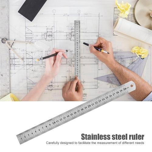 150-500mm Stainless Steel Straight Ruler Precision Double Sided Measuring Tool Carpenter Ruler Art Office School Supplies