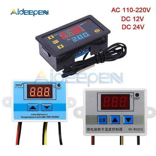 W3001 W3002 W3230 LED Digital Thermostat Temperature Controller AC 110V-220V DC12V 24V Thermoregulator Heating Cooling Control