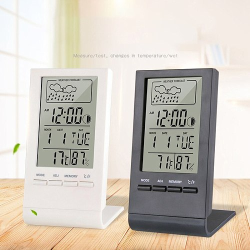 Indoor/Outdoor Thermometer Hygrometer Gauge Indicator Weather Station Automatic Electronic Temperature Humidity Monitor Clock