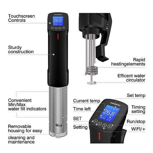 Inkbird Sous Vide WI-FI Culinary Cooker 1000W Precise Temperature&Timer,Stainless Steel Thermal Immersion Circulator for Kitchen