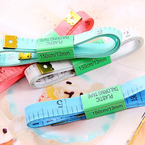 60in/150cm Body Measuring Ruler Sewing Mini Soft Flat Ruler Centimeter Meter Sewing Measuring Tape Random Color