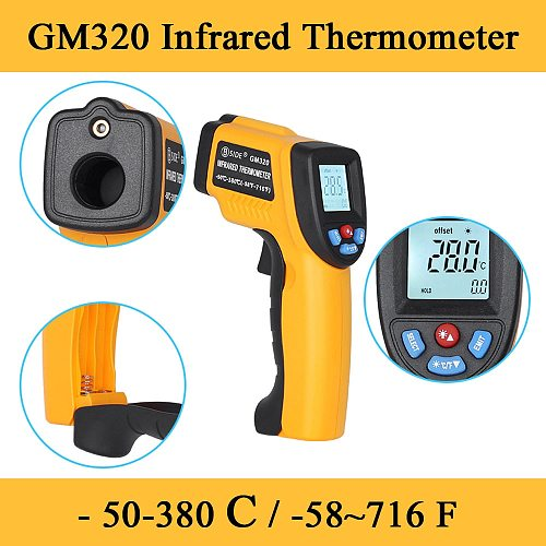 2020 GM320 LCD IR Infrared ThermometerNon-Contact Digital Pyrometer Temperature Meter  Point -50~380 Degree Termometr