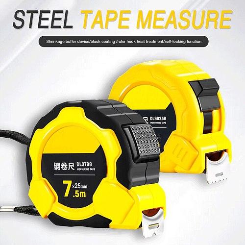 Deli High Precision Steel Measurement Tape System Auto Lock Tape Measure 3/5/7.5/10M Retractable Professional Measuring Tool