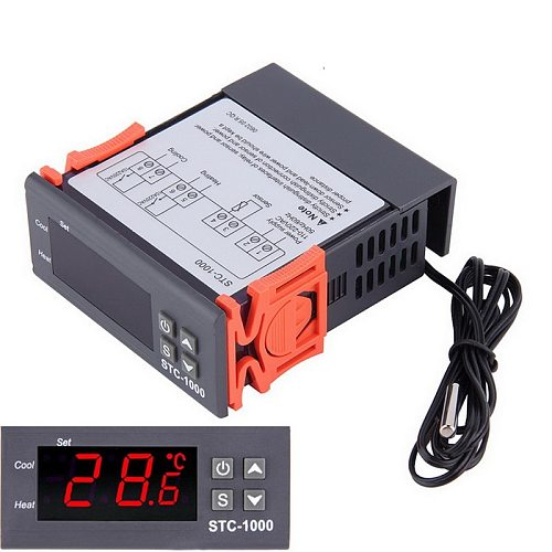 Temperature Controller Digital Thermostat Thermoregulator Incubator Relay LED 10A Heating Cooling STC-1000 12V / 24V/110-220V