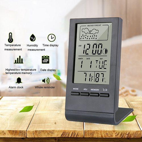 Digital LCD Indoor Thermometer Hygrometer Alarm Clock Calendar Weather Station Desk Clock Temperature Humidity Meter Barometer