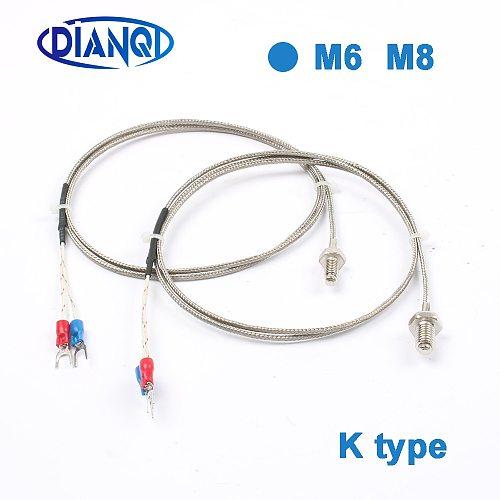 Thermocouple M6 M8 threaded inch thermal resistance temperature sensor temperature line probe temperature sensor