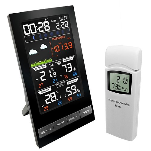 Weather Station Wireless  3 Channel Outdoor Thermometer mmHg  Hygrometer Digital Alarm Clock Weather Barometer Forecast Color