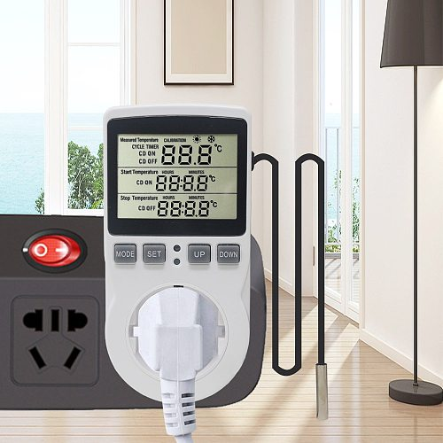 Multi-Function Thermostat Digital Temperature Controller Socket Outlet With Timer Switch Sensor Probe Heating Cooling 16A 220V