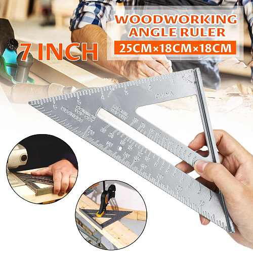ZEAST 7 Inch Aluminum Alloy Measuring Ruler Speed Square Roofing Triangle Angle Protractor Trammel Measuring Tools