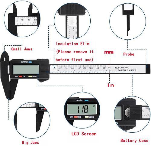 150mm 100mm Electronic Digital Caliper 6 Inch Carbon Fiber Vernier Caliper Gauge Micrometer Measuring Tool Digital Ruler